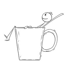 cartoon of man or businessman relaxing in big cup vector image