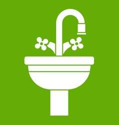 ceramic sink icon green vector image