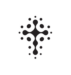 christian symbol black connection dots icon vector image