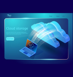 Cloud storage web page template abstract design vector