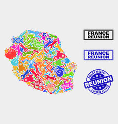 Collage service reunion island map and quality vector