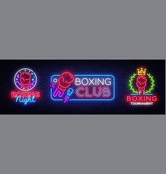 Collection boxing neon signs design vector