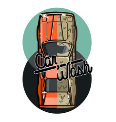 Color vintage car wash emblem vector
