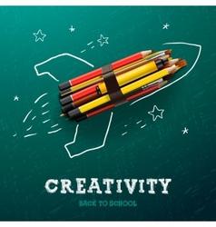 Creativity learning rocket ship launch vector