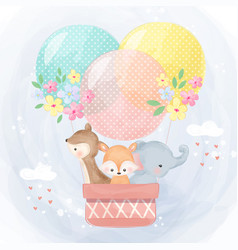 Cute animals flying with balloons vector