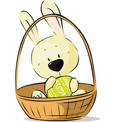 Cute easter bunny hold egg sitting in basket vector