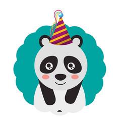 cute panda party hat birthday vector image