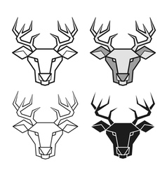 Deer geometric head set vector image
