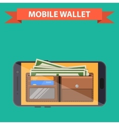 digital mobile wallet vector image