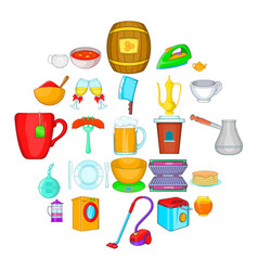 dinnerware icons set cartoon style vector image