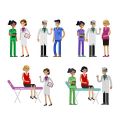 doctor character man and woman set detailed vector image