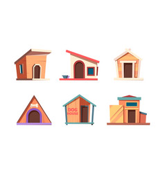 dog houses wooden box for pets living vector image