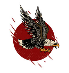 Eagle in old school tattoo style design element vector
