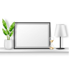 Empty photo frame stand on white shelf with plant vector