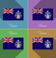 Flags Tristan da Cunha Set of colors flat design vector