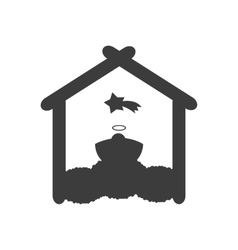 Flat icon in black and white style newborn Jesus vector