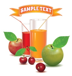 Glasses for juice from ripe cherries and apples vector