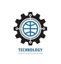 Global technology gear concept business logo temp vector