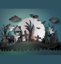 halloween party with ghost and graveyard vector image