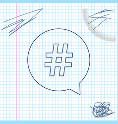 hashtag in circle line sketch icon isolated on vector image