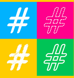 hashtag sign four styles of icon on vector image
