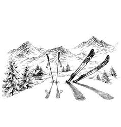 Holidays at ski background mountains panorama vector