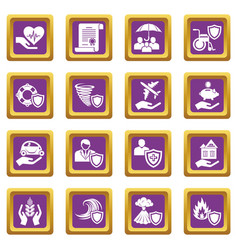 insurance icons set purple square vector image