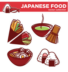 Japanese food collection of exotic asian vector
