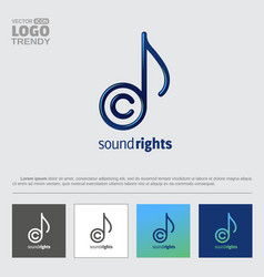 Logo with music note and copyright sign letter c vector