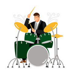 man play on drum musician and instrument vector image