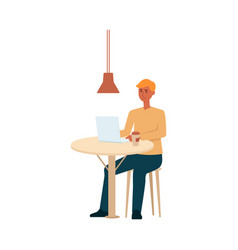 man with laptop and coffee sitting at the table vector image