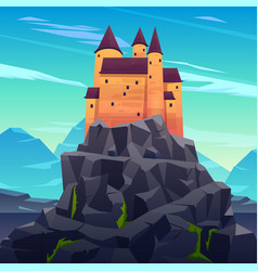 medieval ruler castle in mountains cartoon vector image