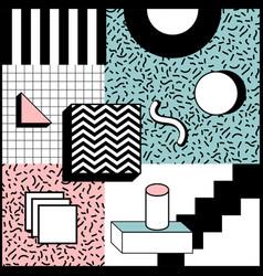 Memphis style geometric background playful design vector