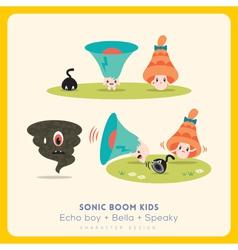 mix cute megaphone-speaker-bell cartoon charact vector image