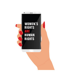 Mobile phone with woman rights on it vector