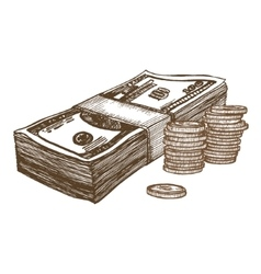Money Hand Draw Sketch vector image