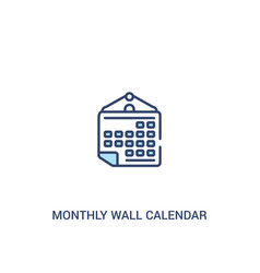 Monthly wall calendar concept 2 colored icon vector