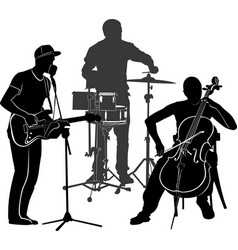 musicians performance silhouette on a white vector image