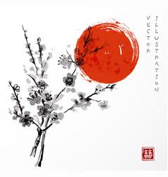 Oriental cherry branch in blossom vector