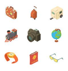 passport check icons set isometric style vector image