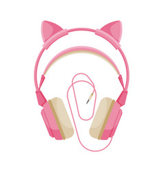 Pink childish headphones with cable accessory vector