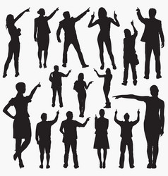 pointing with finger silhouettes vector image