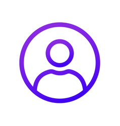 Purple user icon in circle thin line vector