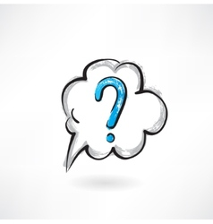 question cloud grunge icon vector image