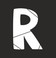 R white alphabet letter isolated on black vector