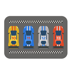 Race car sport track curve road top view vector