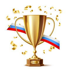 realistic golden trophy cup russian flag vector image