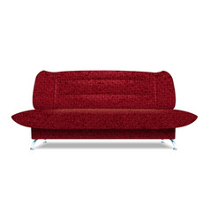 red textile sofa icon realistic style vector image