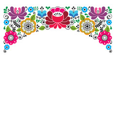Russian floral pattern colorful composition vector