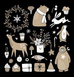 Set cute doodle sketches christmas clip-arts vector